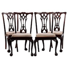 American Set of Four Mahogany Chippendale Dining Chairs