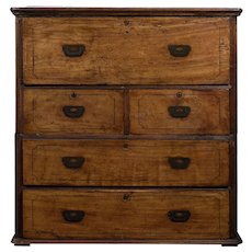 Mahogany Sea Captain's Chest with Hidden Desk
