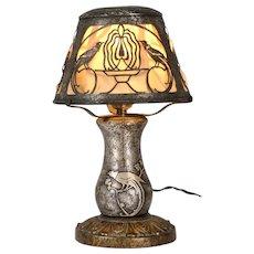 Art Nouveau Silver Overlay Desk Lamp