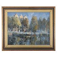 Oil on Board Impressionistic Riverside Scene by A F Trickett