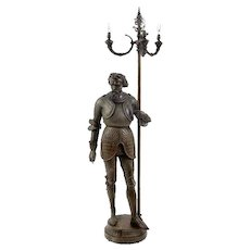 Victorian Newel Post Statue Lamp