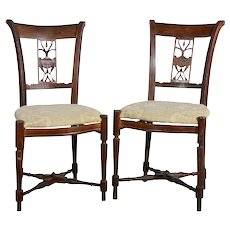 Pair Carved Walnut Side Chairs
