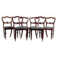 Set of Six Victorian Walnut Dining Chairs