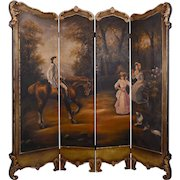 Four Panel Hand Painted Dressing Screen