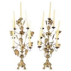 Pair of Gilt Metal Seven Arm Candelabra