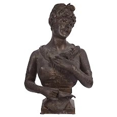 Cast Metal Bust of a Young Woman