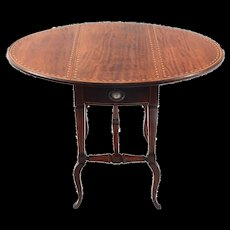 American Inlaid Mahogany Drop Leaf Table - Red Tag Sale Item