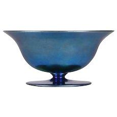 Steuben Aurene Blue Art Glass Footed Bowl