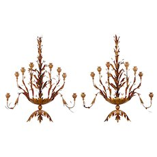 Gold Metal Foliate Wall Sconces