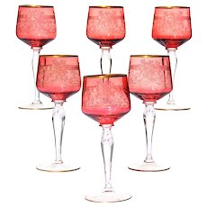 Set of Six Gilt Cranberry Glass Wine Glasses