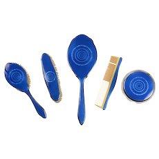 Blue Enameled Vanity Set Attributed to Heinrich Mohr