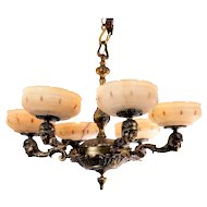 American Egyptian Revival Bronze Chandelier