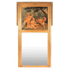 French Gilt Oil Painting Trumeau Mirror