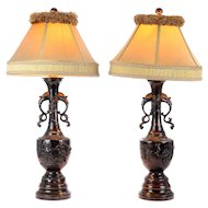Pair Japanese Ornate Metal Table Lamps With Silk Shades