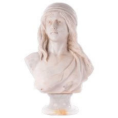 Marble Bust of Woman With Flowing Hair