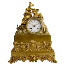 Gilt Bronze Figural Noblewoman with Goat Mantel Clock