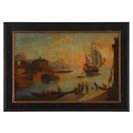 Harbor Scene Oil on Canvas