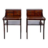 Pair Mahogany Side Tables with Embossed Leather Tops