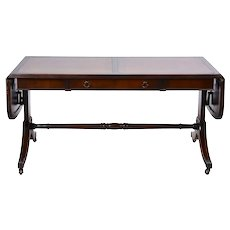 Mahogany Coffee Table with Embossed Leather Top