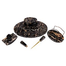 Art Deco Black Marble Five Piece Desk Set