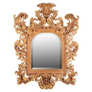 French Gilt Gesso Ornate Carved Wall Mirror