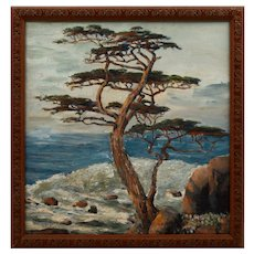 S. C. Yuan Oil on Board Seascape with Cypress