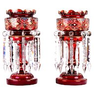 Victorian Ruby Glass Lusters With Crystal Prisms