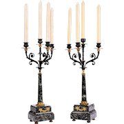 Green and Black Marble Candelabra Set