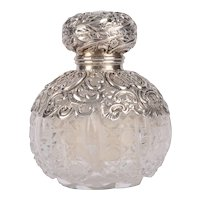 Cut Crystal Repousse Silver Perfume Bottle