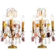Pair of Crystal Drop Boudoir Lamps