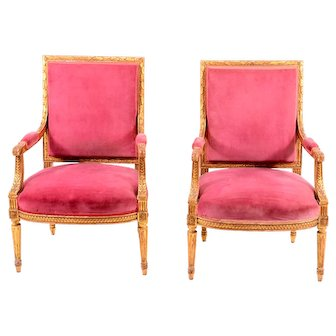 French Pair Carved Gesso Arm Chairs