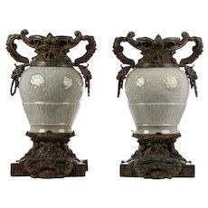 Pair of Cast Bronze Green Porcelain Urns