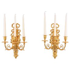 Gilt Bronze Three Arm Candle Wall Sconces
