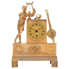 French Gilt Brass Mantel Clock