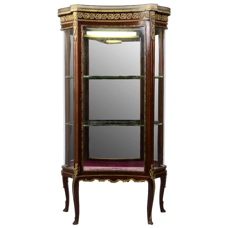 French Curio Cabinet with Marble Top - French Curio Cabinet With Marble Top : Solvang Antiques Ruby Lane