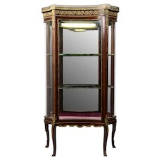 French Curio Cabinet with Marble Top