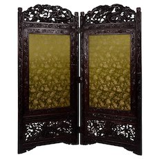 Carved Wood and Embroidered Fabric Two Panel Screen
