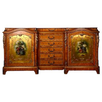 French Hand Painted Satinwood Sideboard
