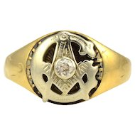 Center Diamond Masonic Ring