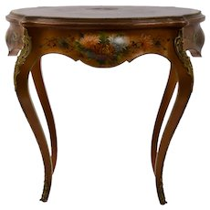 French Hand Painted Walnut Occasional Table