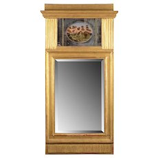Gilt Wood Painted Glass Wall Mirror