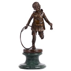 Dmitri Chiparus Bronze Sculpture Boy With Hoop