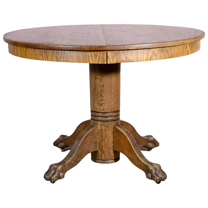 Round Oak Dining Table With Leaf