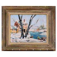 Bernard Shepro Winter Scene with Farmhouse