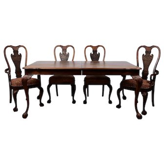 Walnut Dining Table with Six Chairs