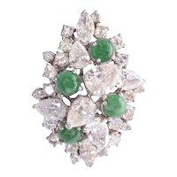 Diamond & Cabochon Emerald Pendant
