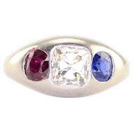0.75 Carat VS1 Diamond Ruby and Sapphire Platinum Ring