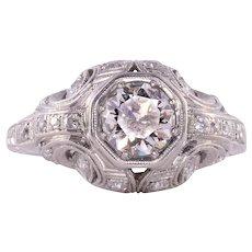 0.68 Carat Center VS1 Diamond Platinum Ring