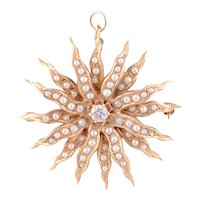14 Karat Diamond and Seed Pearl Pin or Pendant