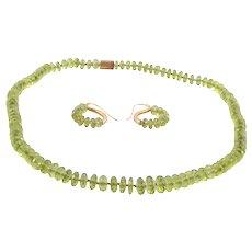 Peridot 18K Gold Necklace & Earring Set